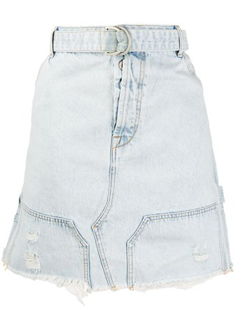 UNRAVEL PROJECT Distressed Belted Denim Skirt - Farfetch