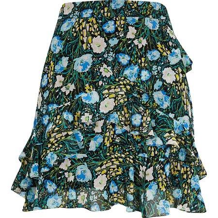 Blue floral chiffon rara mini skirt   River Island