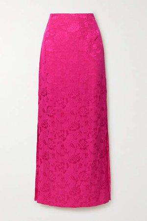 Saman Floral-jacquard Maxi Skirt - Fuchsia