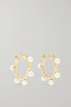 Gold 14-karat gold pearl hoop earrings | Mateo | NET-A-PORTER