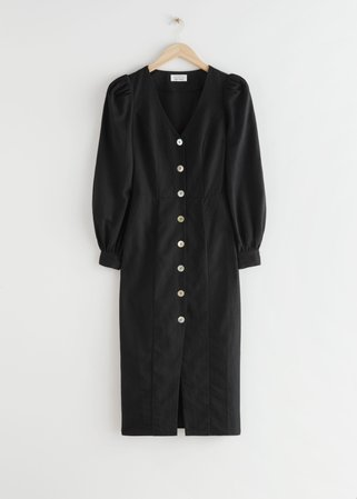 Buttoned Puff Sleeve Midi Dress - Black - Midi dresses - & Other Stories
