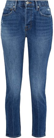Distressed High-rise Slim-leg Jeans