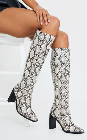 Brown Pu Snake High Flat Block Heel Knee Boots | PrettyLittleThing