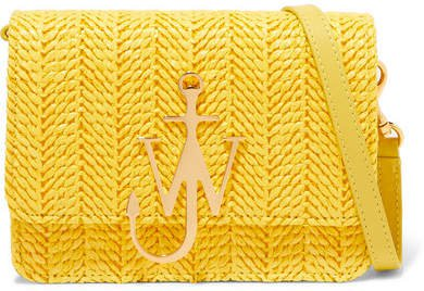 Logo Mini Raffia And Leather Shoulder Bag - Yellow