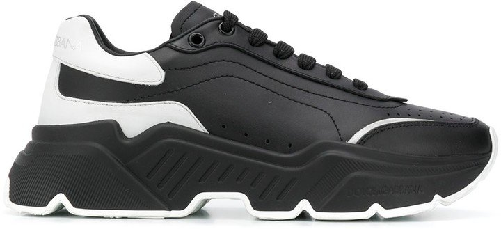 Calf Leather Trainers With Thick Rubber Sole