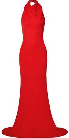 Ruffled Silk-blend Crepe Halterneck Gown - Red