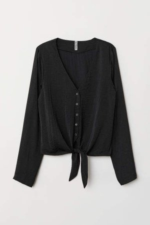 Tie-front V-neck Blouse - Black
