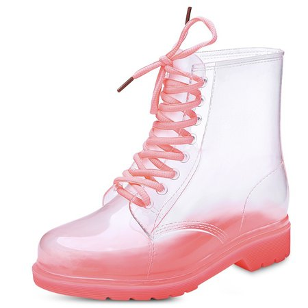 Women Waterproof Crystal Candy Color Transparent Jelly Martin Rain Boots Lace-up Rain Boots Martin Boots   Wish