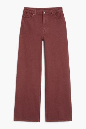 Yoko wide leg jeans - Dark red - Jeans - Monki WW