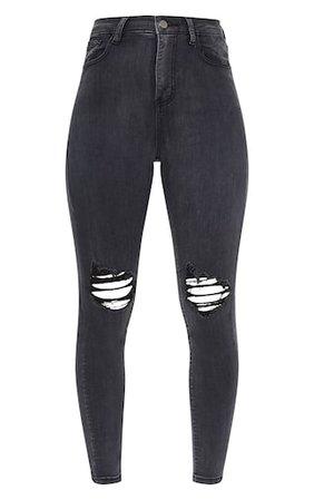 Plt Washed Black Knee Rip 5 Pocket Skinny Jean   PrettyLittleThing