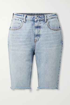 Distressed Denim Shorts - Light denim