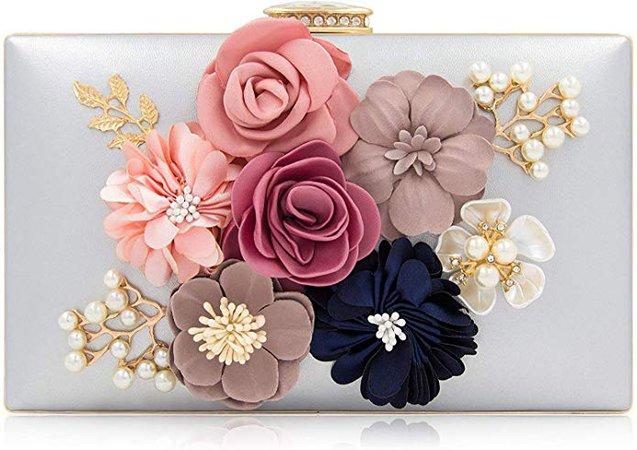 Milisente Evening Bag for Women, Flower Wedding Evening Clutch Purse Bride Floral Clutch Bag(Silver): Handbags: Amazon.com