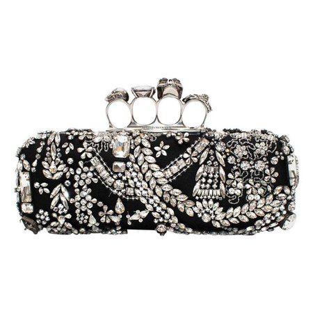 Alexander McQueen Four Ring Crystal Embellished Clutch