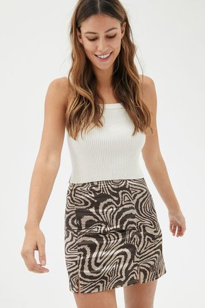 UO Animal Print Satin Mini Skirt | Urban Outfitters