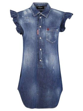 Dsquared2 Short Ruffled Sleeveless Denim Dress