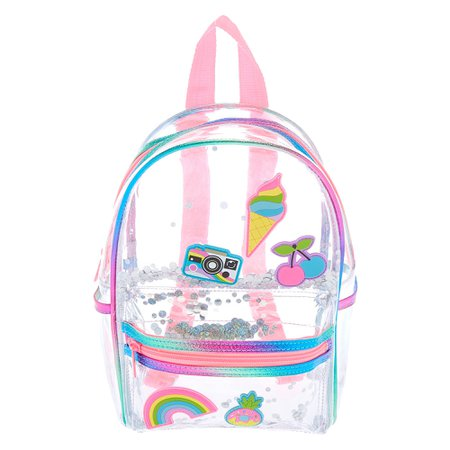 Rainbow Shaker Mini Backpack - Clear | Claire's