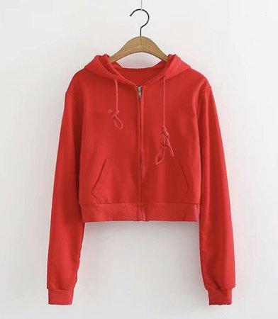 red zip up hoddie sweater