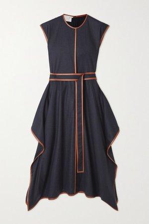 Eloise Belted Asymmetric Vegetarian Leather-trimmed Wool-flannel Dress - Navy