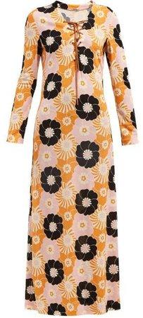 Floral Print Side Slit Maxi Dress - Womens - Pink Multi