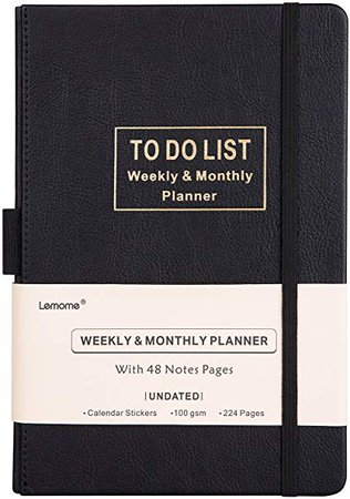 "Amazon.com : Planner - Academic Weekly, Monthly and Yearly Planner with to-DO List. Thick Paper to Achieve Your Goals, 5.75"" x 8.25"", Back Pocket with 48 Notes Pages - Undated : Office Products"