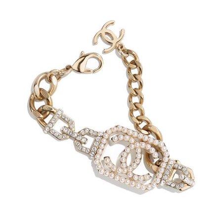 chanel metal pearls strass gold bracelet