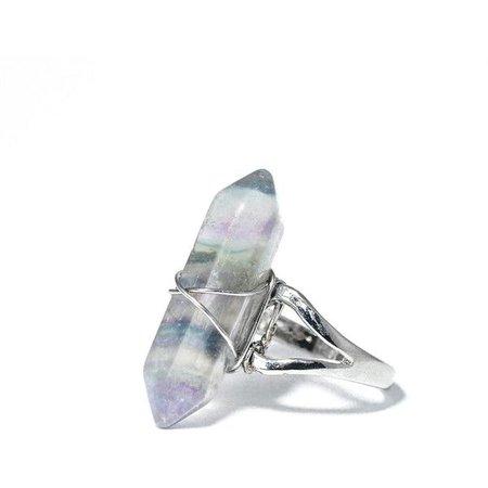 Grey & Light Purple Crystal Ring