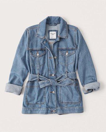 Women's Belted Denim Jacket | Women's New Arrivals | Abercrombie.com