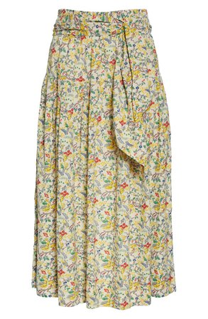 THE GREAT. Highland Floral Pleated Midi Skirt | Nordstrom