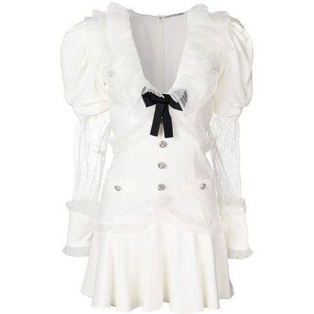 Alessandra Rich bow embellished puff sleeve dress