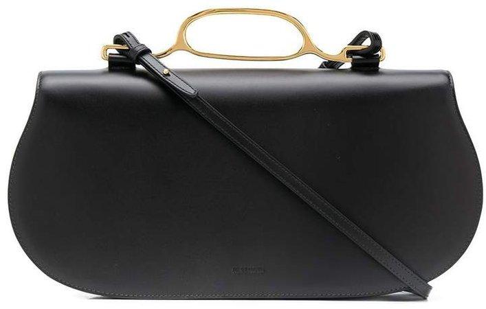 Curved Leather Shoulder Bag