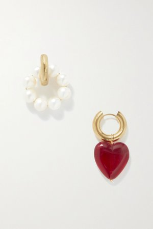 Gold Gold-plated, pearl and glass earrings | Timeless Pearly | NET-A-PORTER