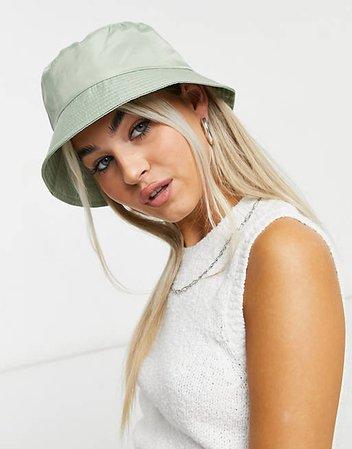 ASOS DESIGN nylon bucket hat in green   ASOS