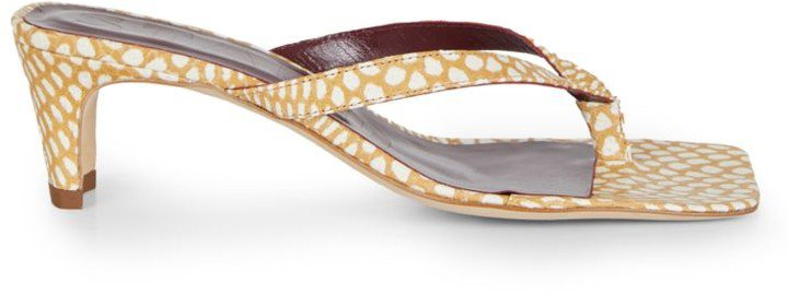 Audrey Square-Toe Dotted Leather Thong Sandals