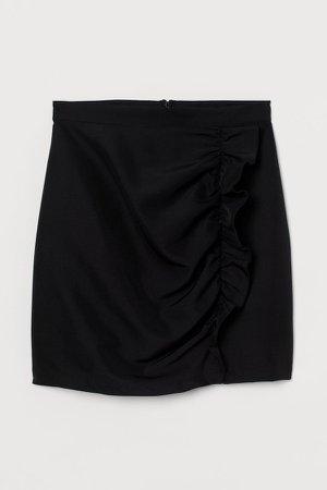 Flounce-trimmed Skirt - Black