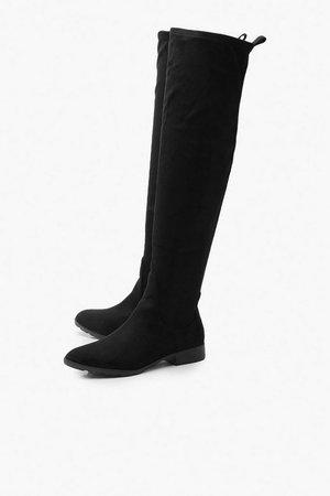 Flat Cleated Knee Boots   Boohoo UK