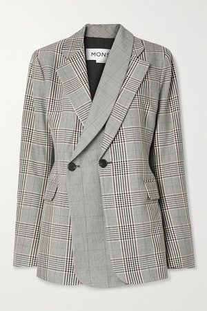 Layered Double-breasted Prince Of Wales Checked Wool-blend Blazer - Gray