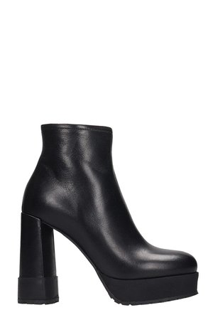 Premiata High Heels Ankle Boots In Black Leather