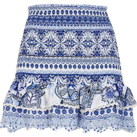 Blue floral shirred beach skirt   River Island