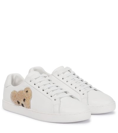 Palm Angels - Teddy embroidered leather sneakers | Mytheresa
