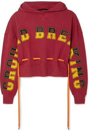 Ground Breaking Oversized Appliquéd Cotton-jersey Hoodie - Red