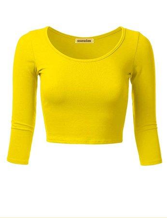 Yellow Long-Sleeve Crop-Top