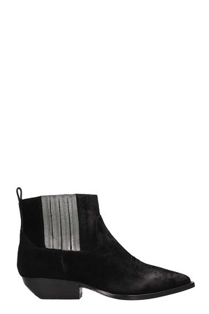 Julie Dee Black Suede Leather Tex Ankle Boots