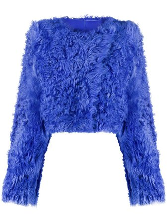 Off-White Cropped Fur Jacket - Farfetch