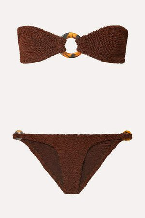 Gloria Embellished Seersucker Bandeau Bikini - Brown