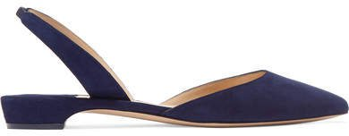 Rhea Suede Point-toe Flats - Navy