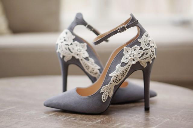 Grey Bridal Shoes,Bridal Heels,Wedding Shoes,High Heels,Wedding Heels,Pumps,Gray Heels,Ankle Strap,Cute,Bridesmaid Shoes With Ivory Lace #2855179   Weddbook