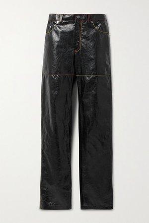 Crinkled-leather Straight-leg Pants - Black
