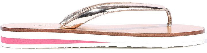 Metallic Leather Flip Flops