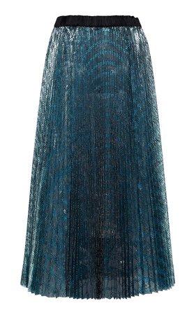Anaïs Jourden Metallic Pleated Midi Skirt Size: 34