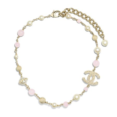 Metal, Natural Stones, Glass Pearls & Imitation Pearls Gold, Pearly White & Pink Necklace   CHANEL